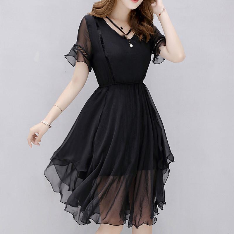 opzc年夏季新品女韩版时尚纯色圆领短袖褶皱不规则裙摆显瘦连衣裙