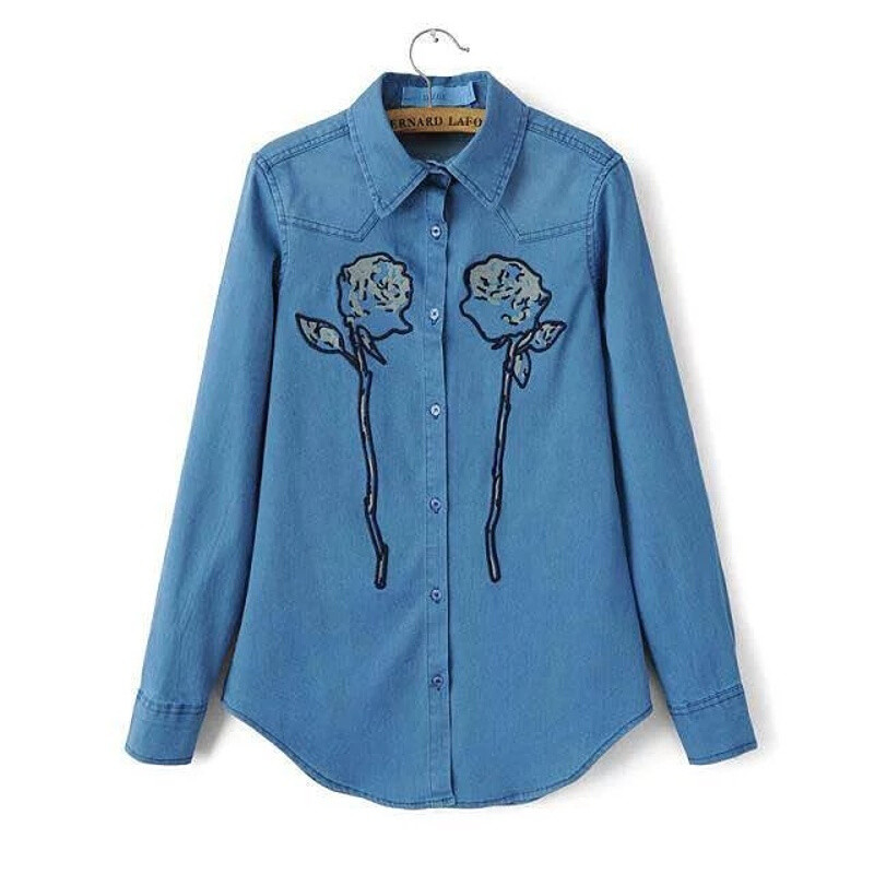 opzc欧风美韩版玫瑰花刺绣牛仔衬衣玫瑰花牛仔衬衫