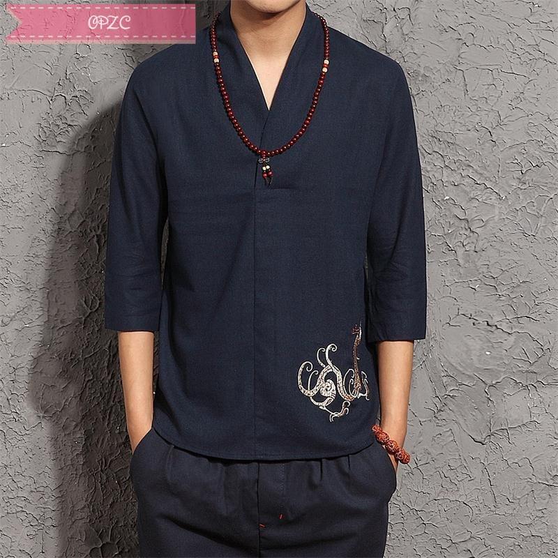 opzc春夏男衬衫日系男装复古棉麻大码中袖古着刺绣套头衬衣