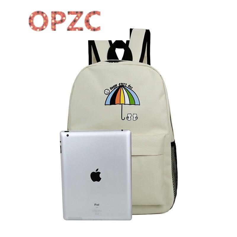 opzc大容量卡通可爱尼龙背包小雨伞印花帆布初中学生书包