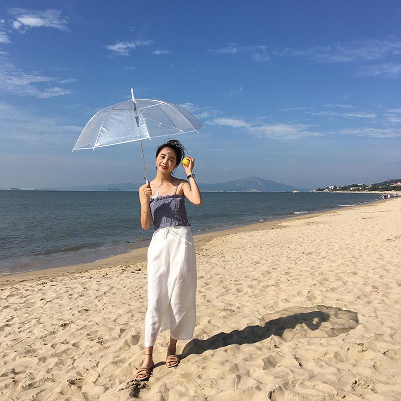 新款上市】自制新品2017韩国文艺范松紧腰纯色半身裙女宽松显瘦棉麻