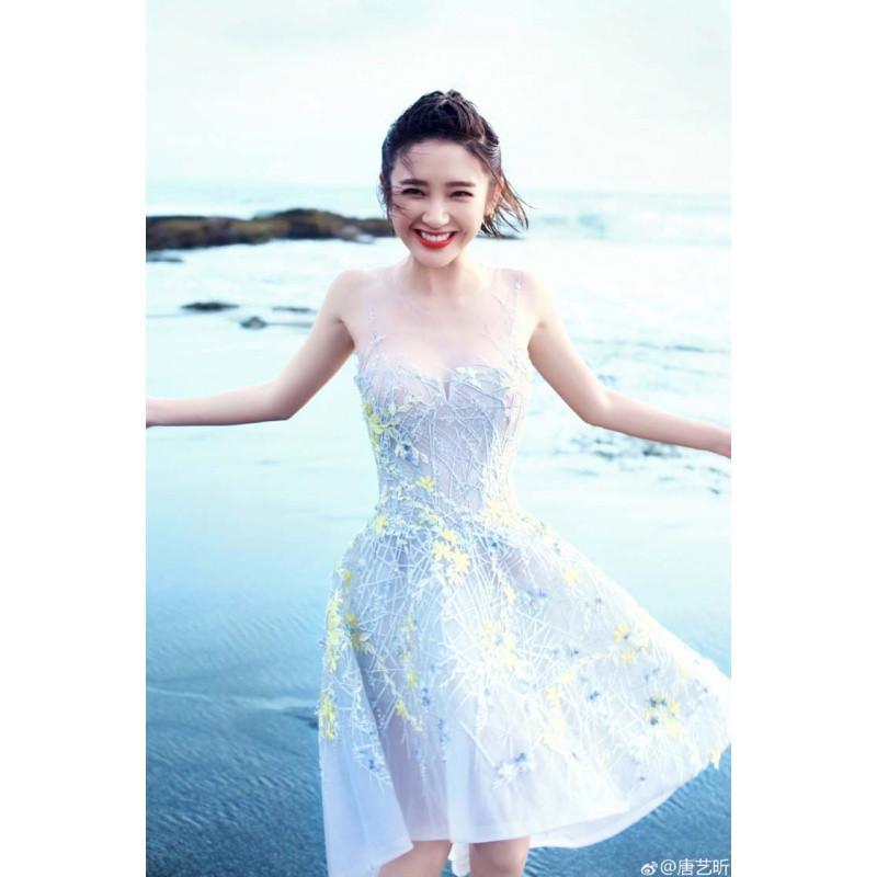 818款唐艺昕明星同款前短后长燕尾a字摆伴娘礼服连衣裙海边沙滩度假裙