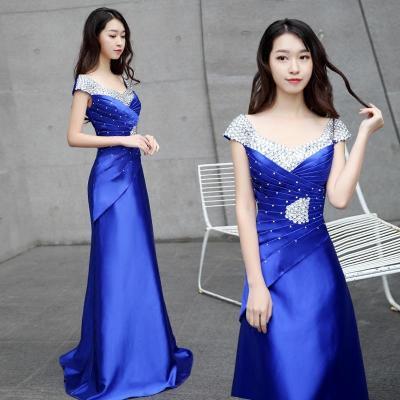 818款晚礼服2018新款宴会时尚优雅长裙主持人年会演出显瘦礼服女长款夏-定制款