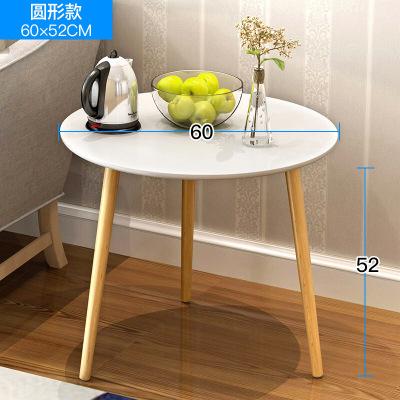明思鑫德 客厅家具人造板 茶几简约现代烤漆圆形创意咖啡桌边几北欧风格榻榻米小户型三角形沙发白色小圆桌茶桌圆型