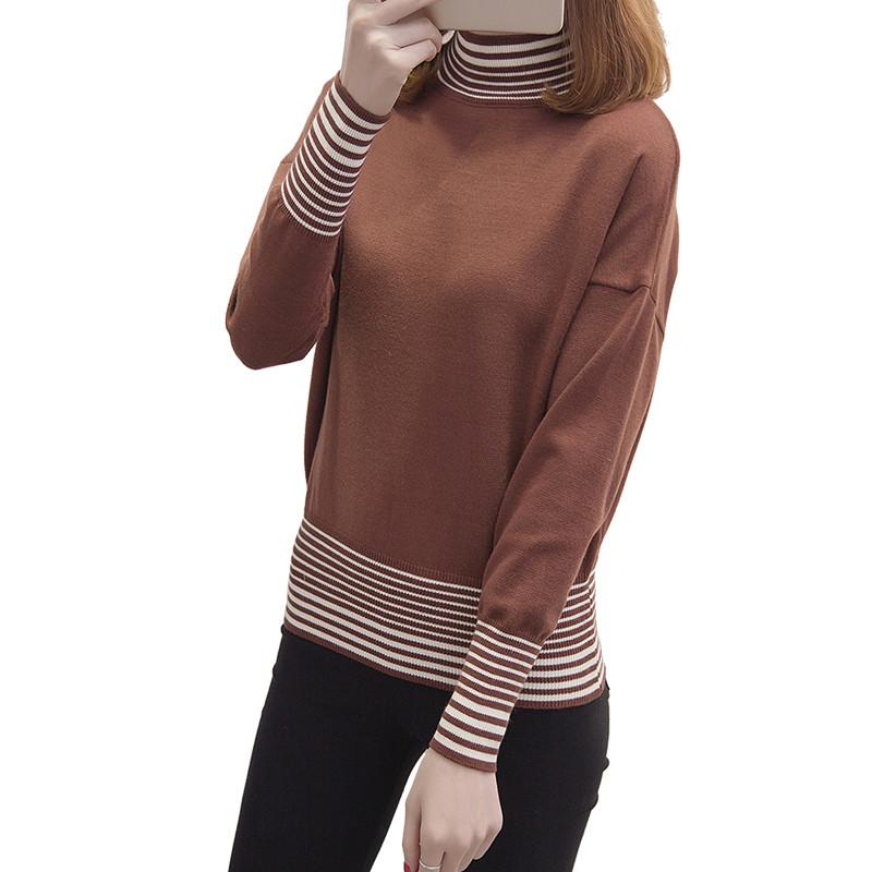 里若丝丽半高领毛衣女秋冬2017新款长袖百搭短款收腰修身套头针织衫