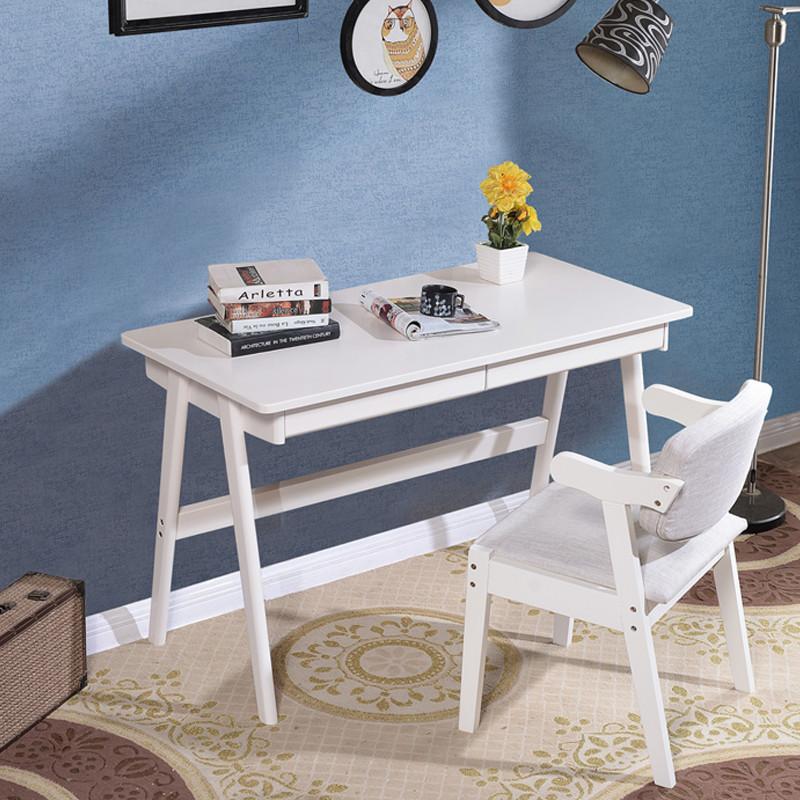 仟嘉恋 电脑桌 北欧全实木书桌 简约现代日式电脑桌台式 卧室家用简易
