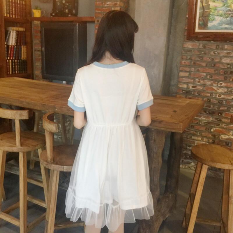 宾如意日系夏季女装新款软妹少女可爱信封爱心拼接网纱娃娃裙连衣裙