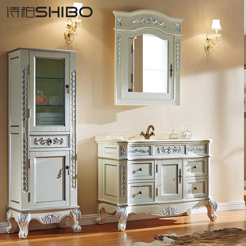 诗柏 欧式浴室柜 橡木卫生间洗脸盆洗手台柜 实木卫浴家具 描银镜柜款