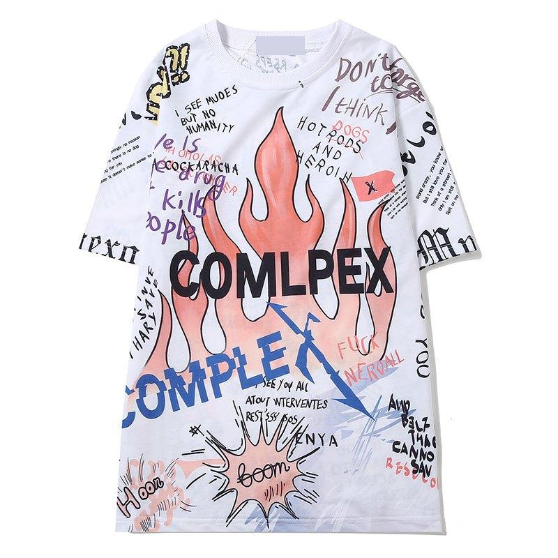 夏装原宿bf风欧美街头个性前卫涂鸦火焰中长款短袖t恤