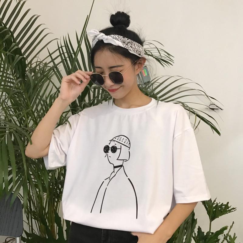 夏装女装韩版简约个性人物印花可爱卡通宽松短袖t恤情侣款上衣潮
