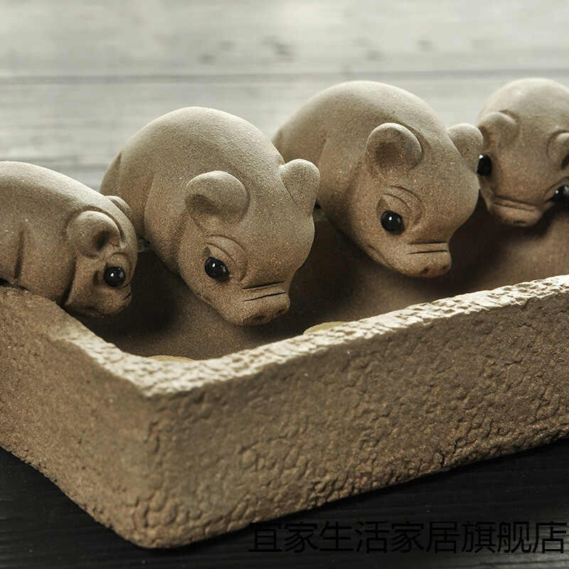 新款小猪喝水丰衣足食槽雕创意手工宜兴段泥四只猪茶玩茶宠摆件 紫砂