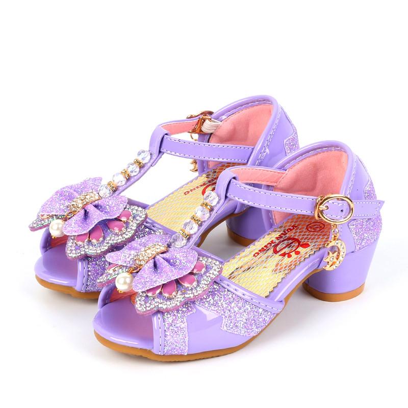 娉语儿童凉鞋4夏5小女孩6蝴蝶结7女童8高跟9公主10小孩子11水晶鞋12岁