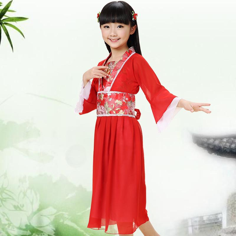 娉语儿童演出服套装 女童民族风汉服 中国风小孩女孩古装仙女表演服装