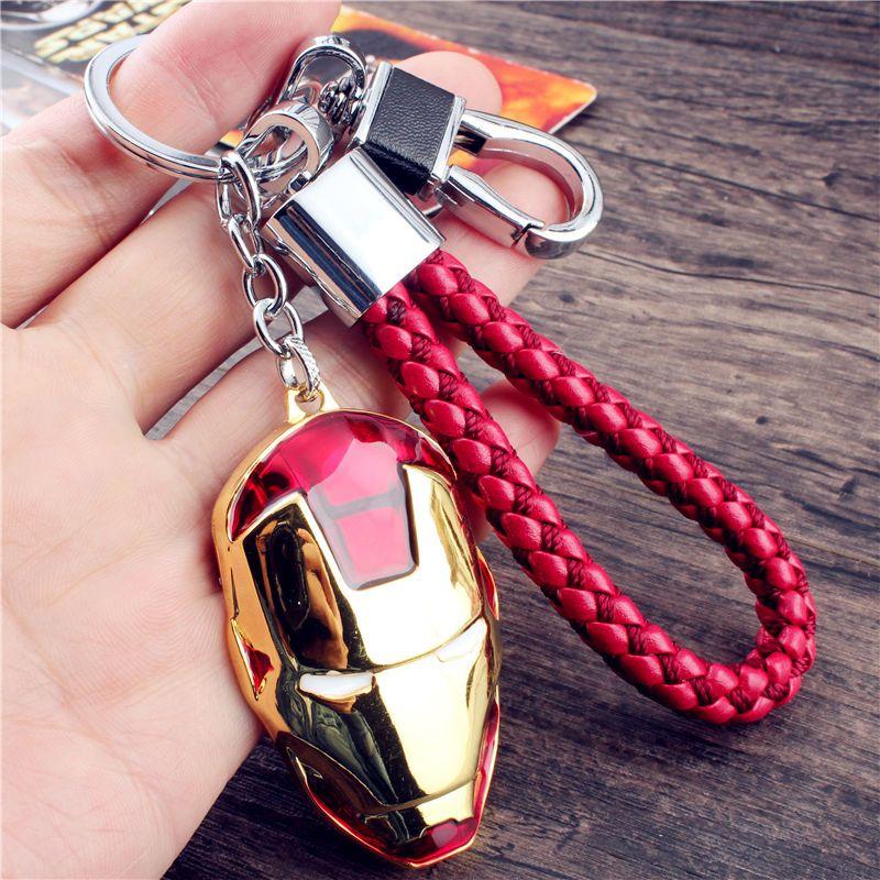 娉语包邮 男士霸气创意汽车钥匙扣挂件 钢铁侠面具皮绳钥匙链挂件