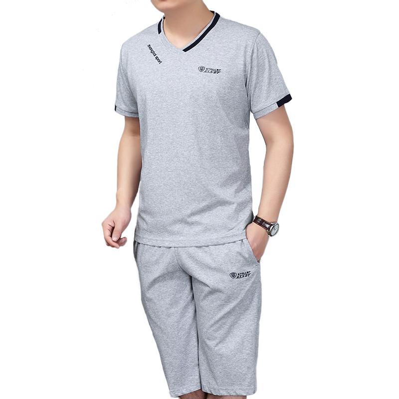 娉语爸爸夏装休闲运动套装中老年七分裤中裤运动服中年男士短袖运动装