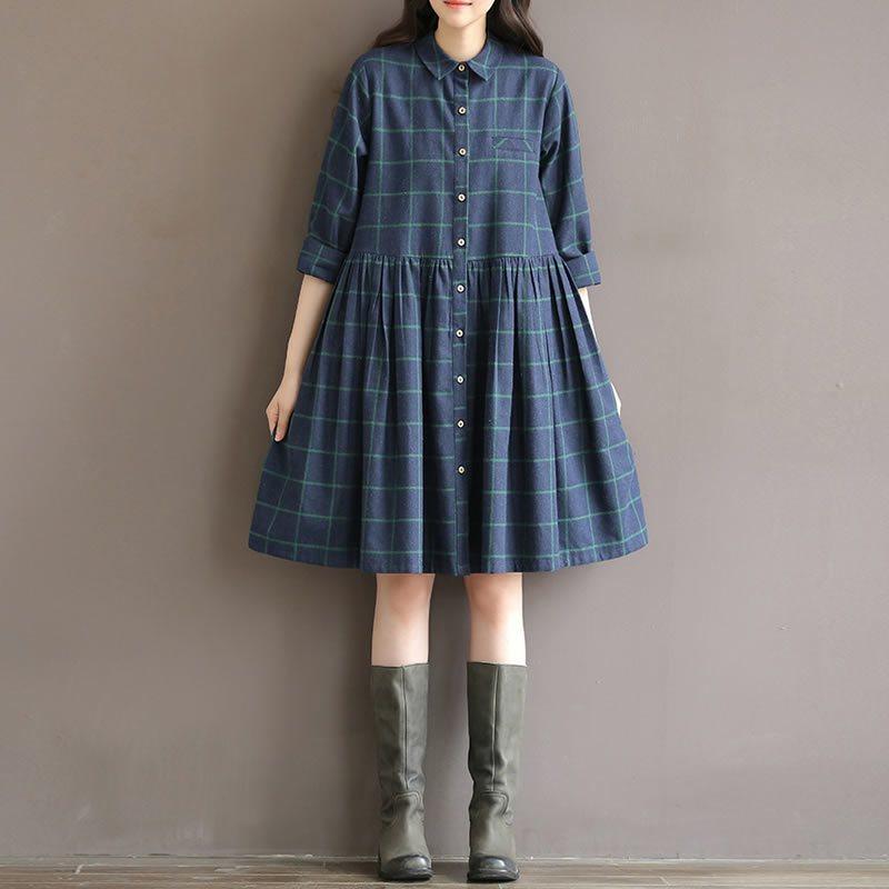棉布裙格子