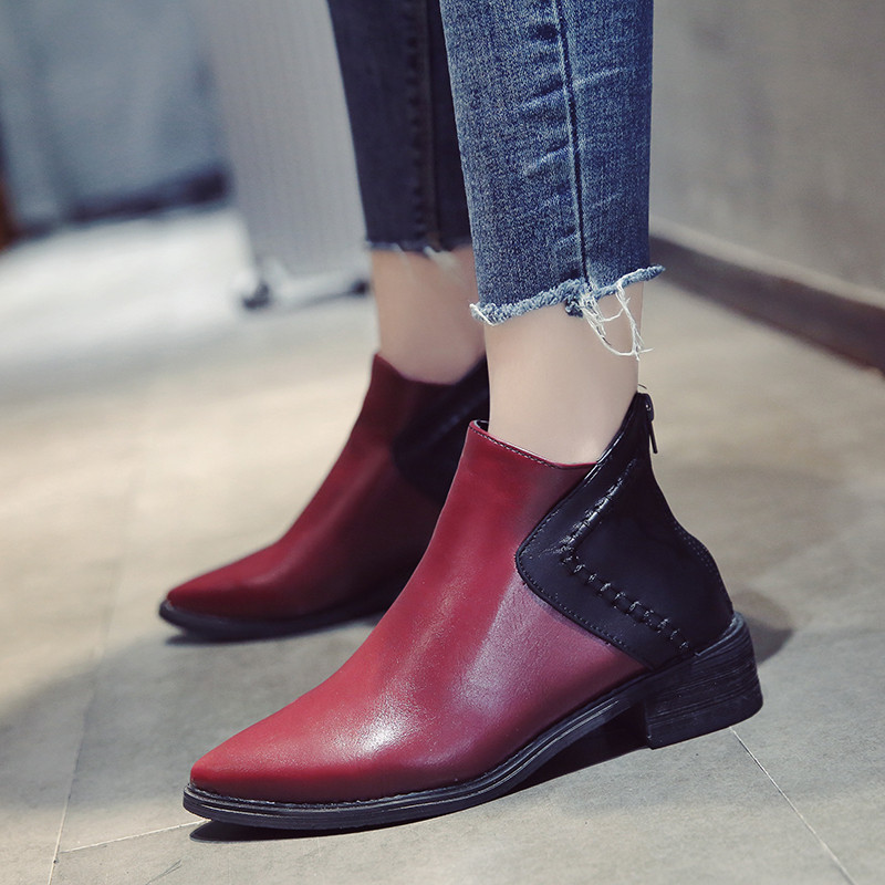 尖头鞋女冬季2017新款韩版百搭