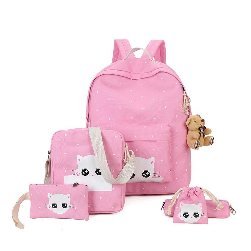 娉语少女韩风可爱猫咪印花双肩包童趣手机包初中小学生书包休闲背包包