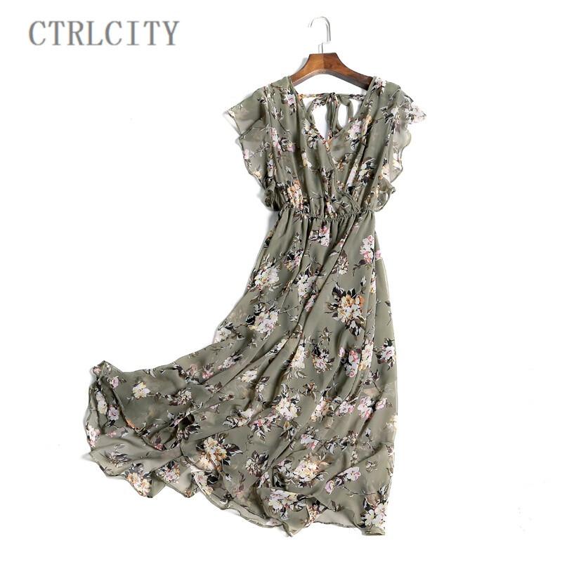 ctrlcity气质长裙女夏新款碎花雪纺连衣裙长款荷叶边波西米亚沙滩裙子图片