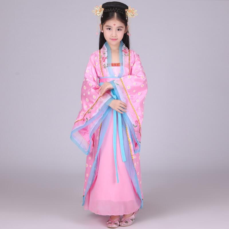 city儿童古装仙女公主裙古筝表演出服女童小女孩古代宫廷贵妃写真服装