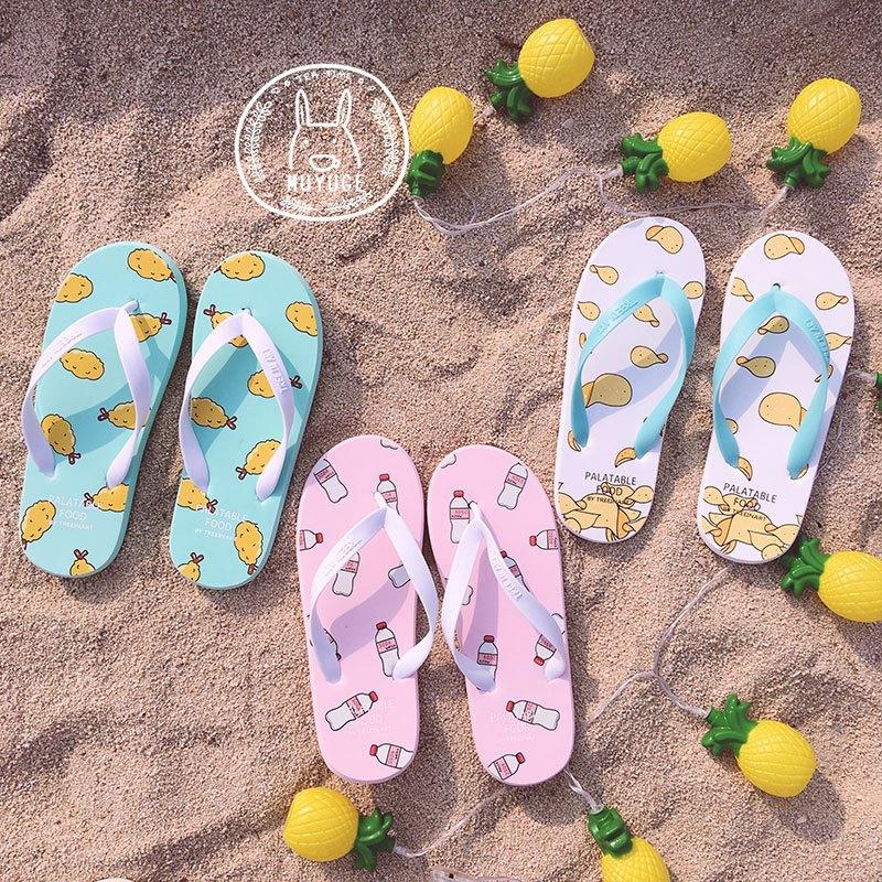 封后牧与歌韩国可爱小清新零食夏日凉拖鞋人字拖凉拖沙滩鞋软妹学生女