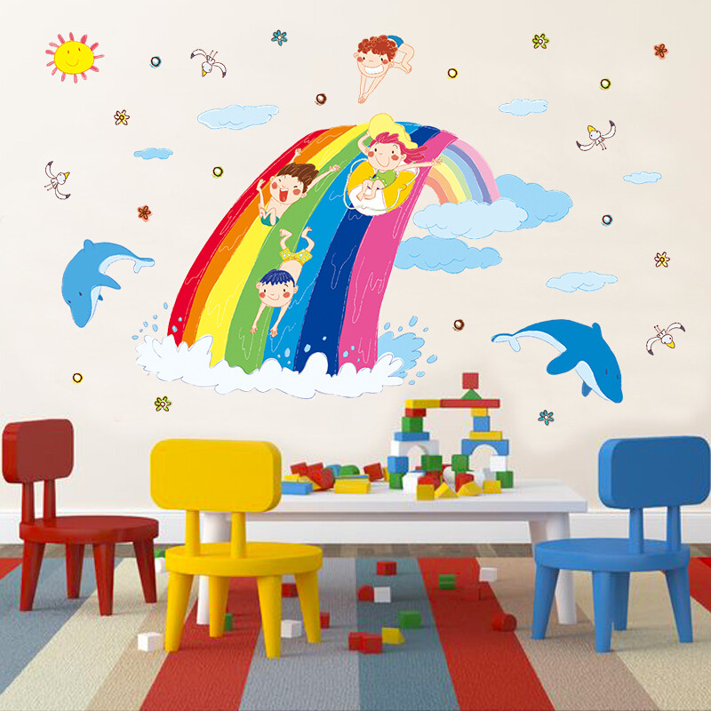 佳蕙幼儿园儿童房海洋馆海底世界鱼墙贴画卫生间浴室装饰卡通防水贴纸