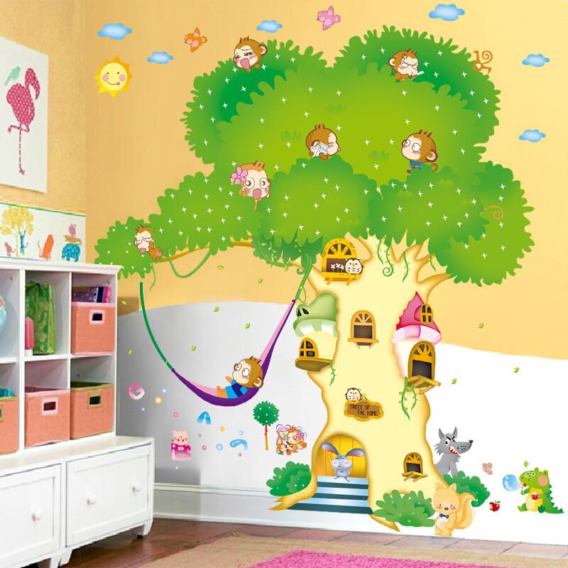 宜佳蕙 儿童房卡通动物装饰墙贴纸 可爱卧室幼儿园 走廊玻璃墙纸贴画