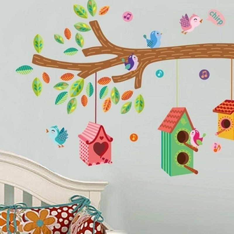 园宝宝儿童房墙贴卧室卡通墙上贴纸墙纸贴画自粘可移除动物 卡通树屋