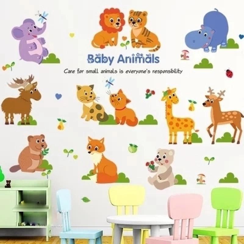 儿童房幼儿园早教所卡通动漫墙贴纸家装家饰宝宝房小动物随意贴画