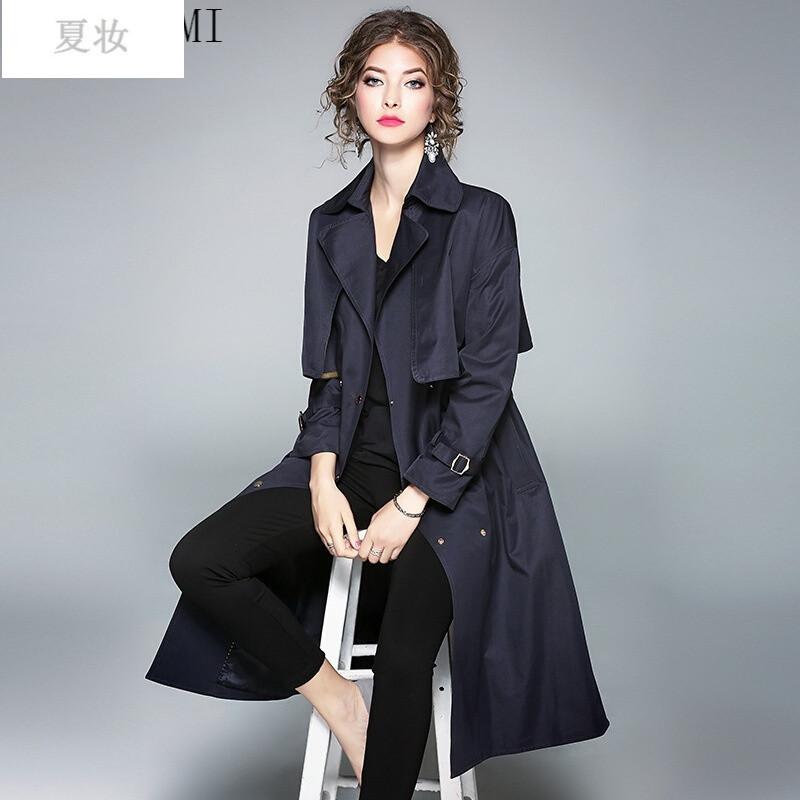 夏妝歐美女裝秋冬新款時尚長款風衣女士雙排扣外套圖片