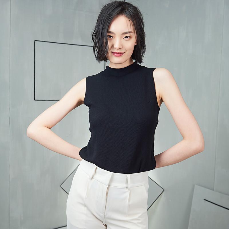 828新款无袖针织背心女夏冰丝宽松半高领打底韩版针织