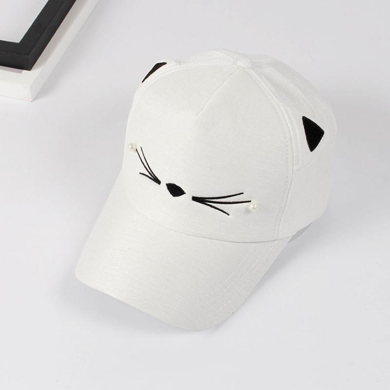 828新款帽子女夏天遮阳可爱猫脸棒球帽韩版猫耳朵帽子