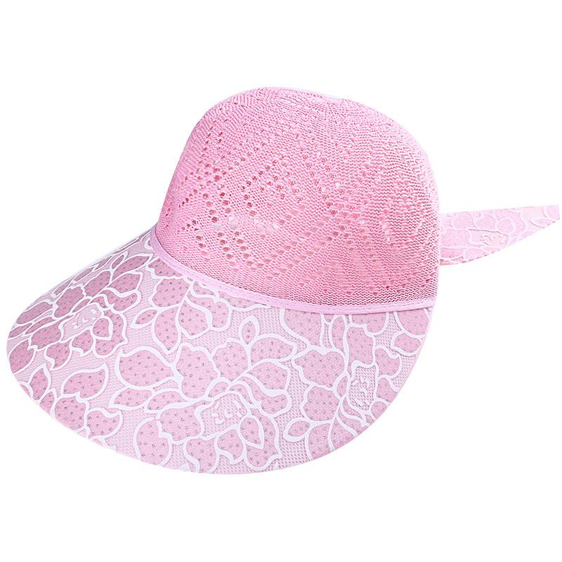 828新款夏季中老年帽子花朵帽女士镂空妈妈凉帽防晒网眼遮阳帽透气