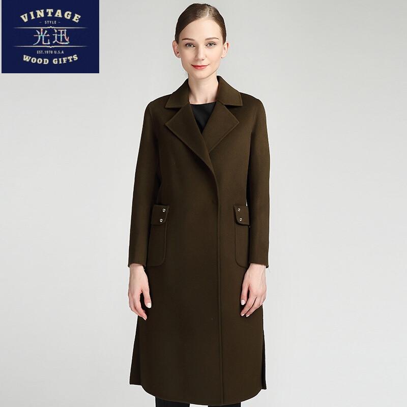 羊绒呢大衣外套女_双面羊绒大衣女中长款17秋新款韩版羊毛呢外套