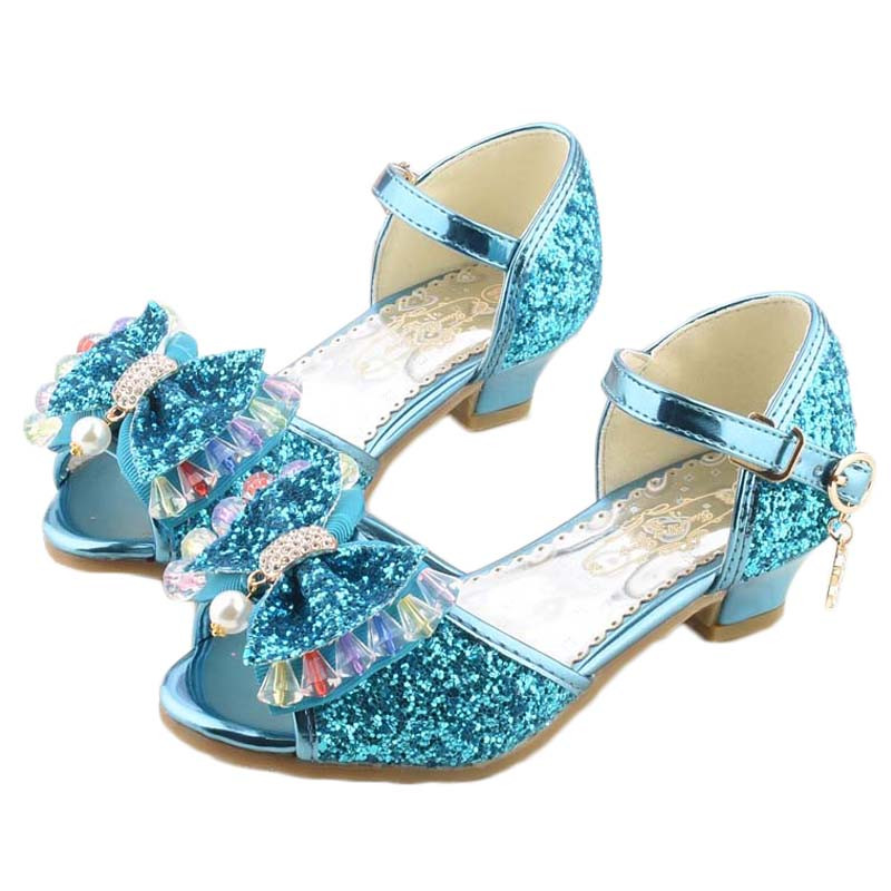 2017女童鞋2017冰雪奇缘公主高跟鞋儿童6表演8跳舞凉鞋夏季水晶艾莎鞋