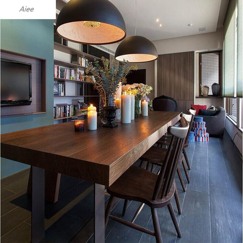 aiee美式实木餐桌椅组合欧式铁艺西餐厅吃饭桌子北欧奶茶店咖啡店餐桌
