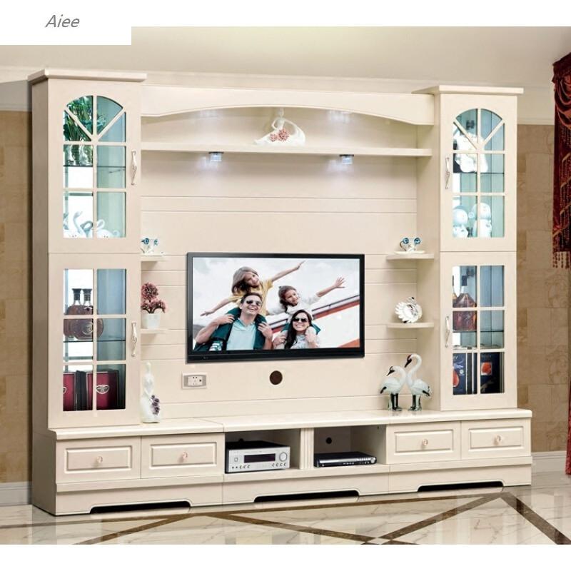 aiee小户型客厅欧式电视柜组合背景墙整体影视地柜象牙白烤漆储物酒柜