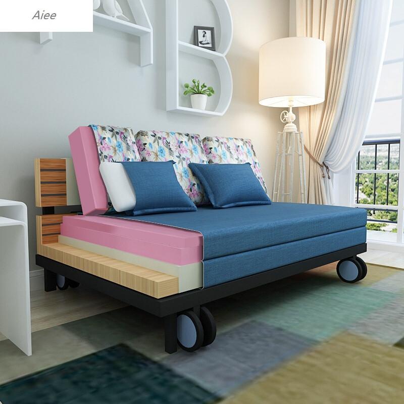 aiee多功能可折叠沙发床1.8小户型单人双人布艺两用折叠床1.图片