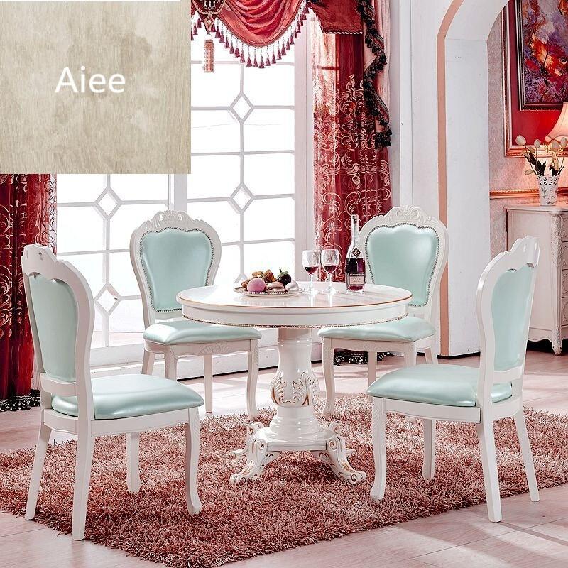 aiee欧式小餐桌椅组合实木圆形餐桌1米小户型饭桌80小