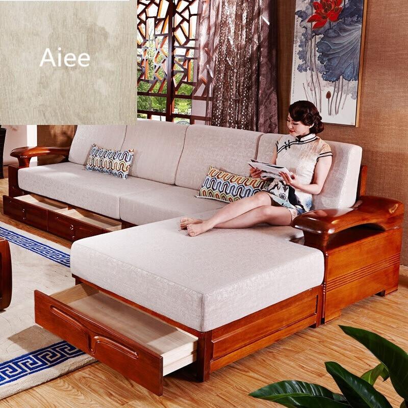 aiee实木沙发组合现代中式简约金丝胡桃木布艺转角贵妃客厅家具套装