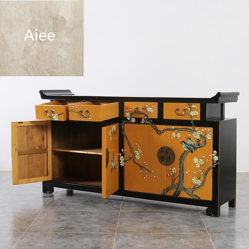 aiee新中式家具实木手绘翘头鞋柜仿古餐边柜玄关门厅储物装饰电视柜c