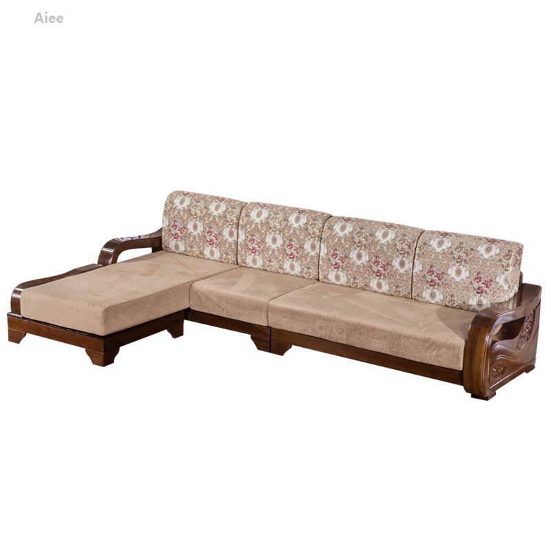 aiee胡桃木实木沙发现代新中式客厅木质布艺组合转角实木沙发家具胡桃图片