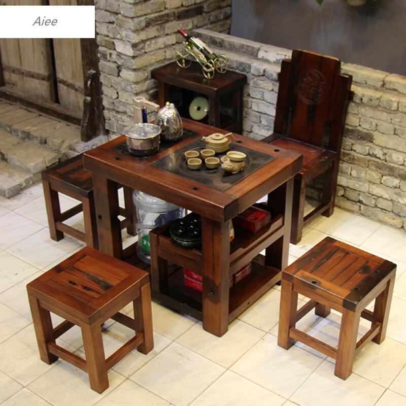 aiee老船木茶台实木茶桌椅组合小型阳台茶几简约现代迷你功夫泡茶桌子