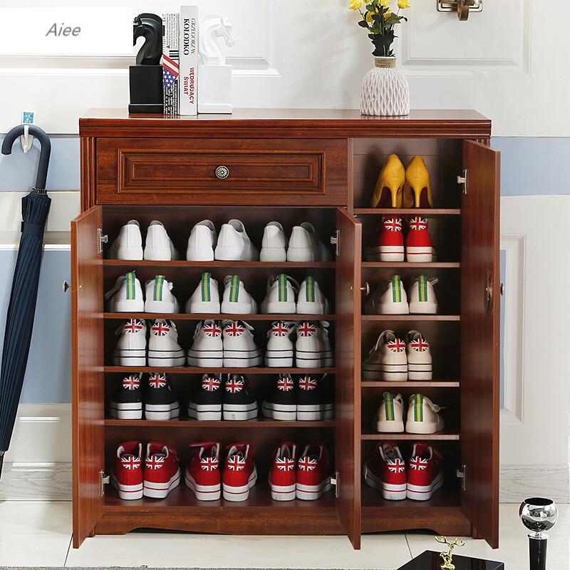aiee美式乡村鞋柜欧式对开门三门鞋厨中式玄关柜门厅柜实木色储物柜