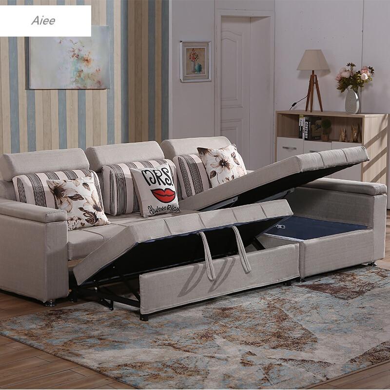 aiee小户型多功能沙发床布艺沙发可折叠客厅转角贵妃沙发组合储物深图片