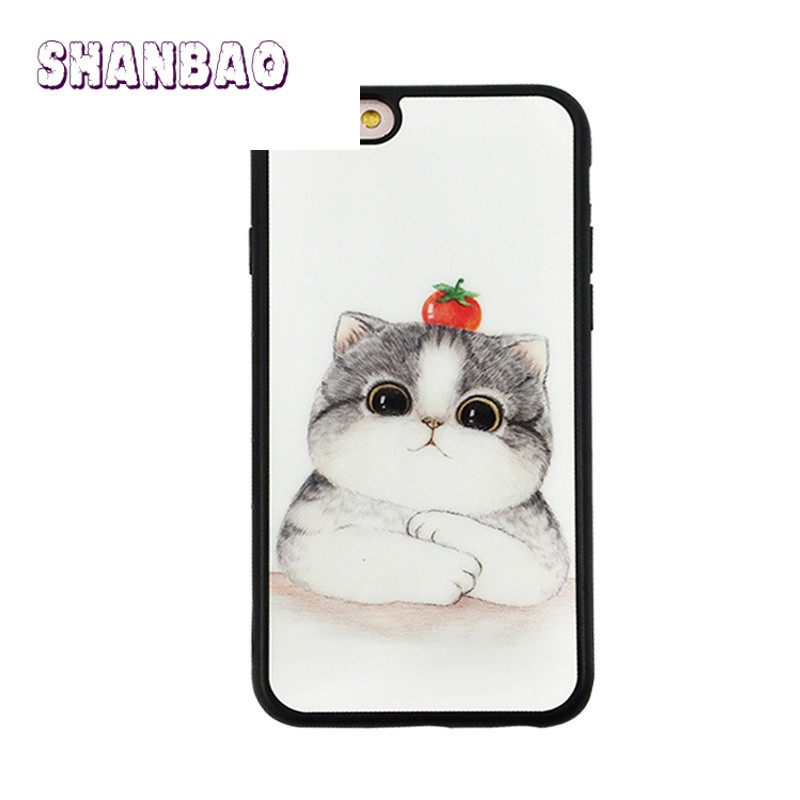 shanbao可爱卡通萌猫咪苹果7手机壳iphone6plus保护套