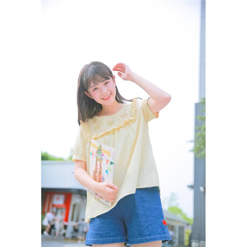 日系元气少女萌妹子牛仔短裤简约百搭松紧腰裤子夏装
