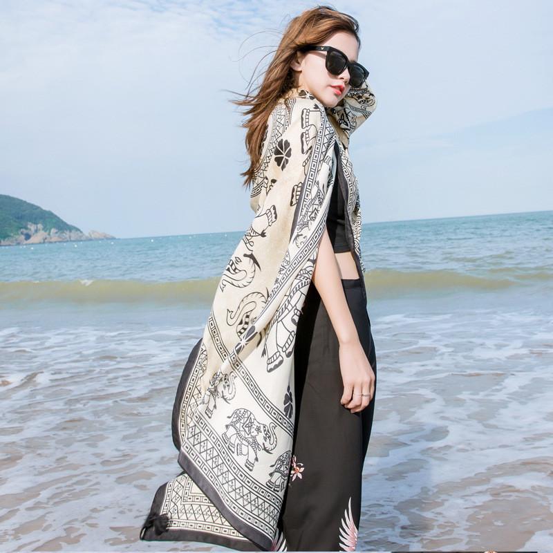 泰国度假小象学生围巾女士空调大披肩两用海边防晒百搭沙滩巾丝巾