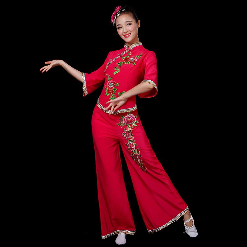 中老年舞蹈演出服装_秧歌服演出服2017新款中老年广场舞扇子舞蹈服装民族古典舞成人女