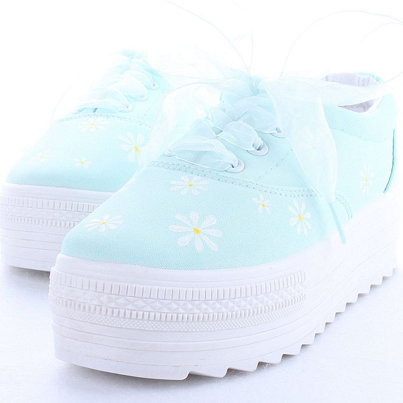 手绘鞋松糕厚底森女原宿风文艺日系薄荷绿帆布鞋女小清新潮软妹鞋